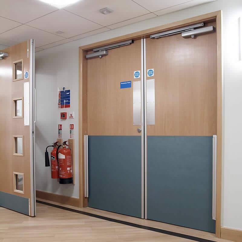 Anti-bacterial Impact Protection Sheet, Rotary Frame Guards and Aluminium Door Edge Guards at Doncaster Royal Infirmary